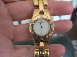Reloj con pulsera metálica naranja dorado metal