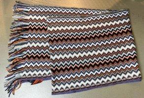 * M MISSONI * NEU ! STRCKSCHAL FRANSEN WOLLE ZIck ZACK Muster grau weiß orange beige  195 x 36 cm