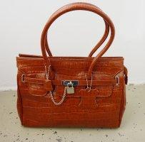 MADAME Handtasche Kroko Optik braun Damen Tasche Birkin Bag Luxury Satchel Leder Tragetasche Sac Citybag braun Hermes Style