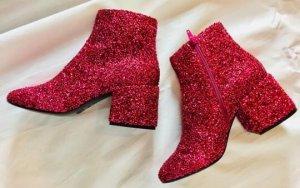Maison Martin Margiela Ankle Boots Stiefelette heels fuchsia rot Perlen Beads Kristalle