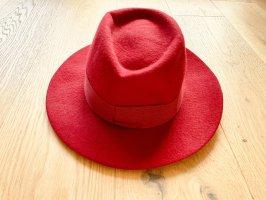 Maison Michel Woolen Hat dark red wool