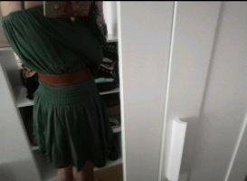 Maje Off-The-Shoulder Dress khaki