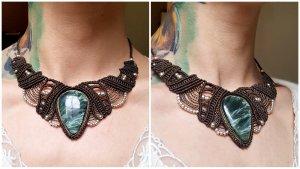 Handmade Collier Necklace dark brown-dark green