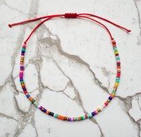 Makramee Fußkette Fußkettchen mit rotem Band und bunten Perlen größenvertstellbar NEU