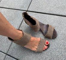 MALU Sandalias de tacón de tiras marrón oscuro-marrón