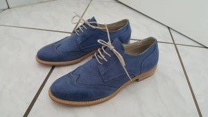 MALU Zapatos estilo Oxford azul acero Cuero