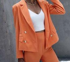 mandarin farben / orange Blazer mit Doppelreih Knöpfen