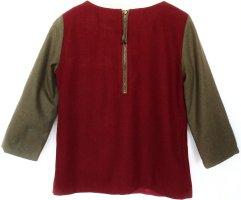 MANGO Bluse Wolle Pullover Reißverschluss dunkelrot Shirt fein elegant