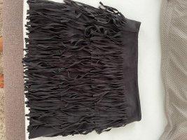 Mango Falda con flecos negro
