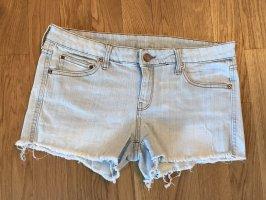 Mango Jeans: Jeansshort Hellblau mit Ziernähten in Braun Gr. 40, neuwertig, selten getragen