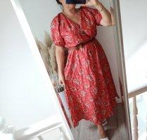 Mango Kleid geblümt L 40 rot/braun neu