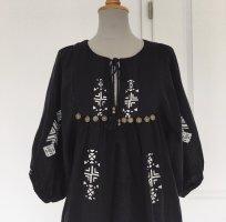 Mango Kleid Schwarz weiß S 36 M 38 Folklore Hippie Boho Tunika