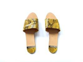 Mango Pantoletten Gr. 39 gelb grau Schlangenprint gemustert