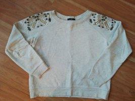 MANGO Pullover mit Nieten/Pailetten beige
