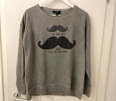 Mango Pullover Sweatshirt S 36 grau Strass Nieten Moustache Print Top