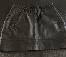 Mango Falda de cuero de imitación negro Poliéster