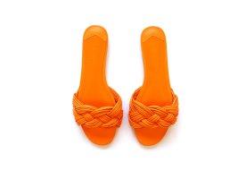 Mango Violetta Sandalen Mules Gr. 40 39 geflochten orange gelb