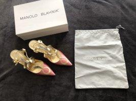 Manolo Blahnik Sandales à talons hauts et lanière doré-rose