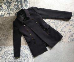 Zara Woman Krótki płaszcz ciemnoniebieski