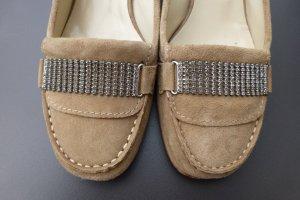 manufacture d'essai Chaussure à talons carrés beige-argenté