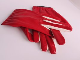 Marc Cain Leather Gloves red-white leather