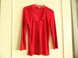 Marc Aurel Ribbed Shirt brick red cotton