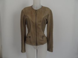 Marc Cain Biker Jacket green grey leather