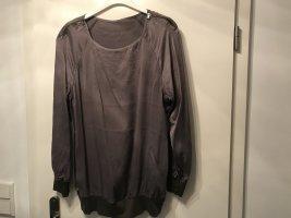 Marc Cain Boatneck Shirt light brown-dark grey silk