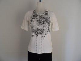 Marc Cain Shirt Gr. N 5 / 40 Weis/ schwarz  Basic- Shirt