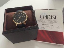 Marc Jacobs Leder Armband Uhr Schwarz Gold