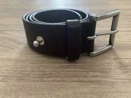 Marc O'Polo Leather Belt dark brown-silver-colored leather