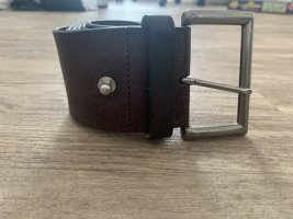 Marc O'Polo Cintura di pelle marrone scuro-argento Pelle