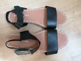 Marc O´Polo Sandalen schwarz Echtleder Gr. 37 flat Bast