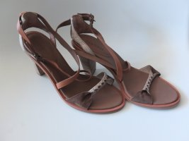 Marc O'Polo Strapped High-Heeled Sandals light brown-oatmeal leather
