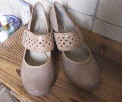 Marc Schuhe in beige, Blockabsatz, Holz, innen und außen Leder