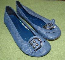 Marco Tozzi Ballerines à lacets bleu acier cuir
