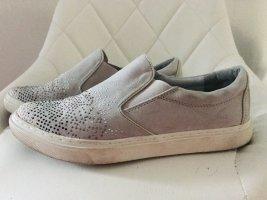 Marco Tozzi,  Leder Edler Sneaker Silber mit Strasssteine. 1x getragen. 89,00 Euro NP jetzt 34,00 Euro + 4,99 Versand