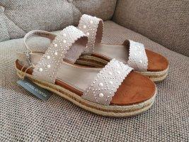marco tozzi sandalen neu gr. 38 sandaletten riemchen plateau grau silber beige