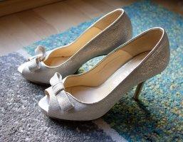 Marian Echtleder Leder Peep Toes High Heels Pumps Hochzeit mit Schleife weiß gold Gr. 37