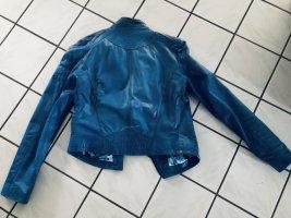 Veste motard bleuet
