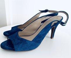 Marineblaue Samt Leder offene high heels v Madeleine Gr. 40