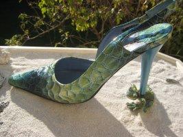 Marino Fabiani Vintage Italy Sensationelle Reptil & Metallic Stilettos 11 cm NP 265 € Top