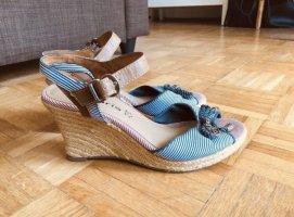 Maritime Sandalette mit Keilabsatz
