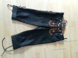 MarJo Kniebund Lederhosen Gr 36 schwarz mit Flammen