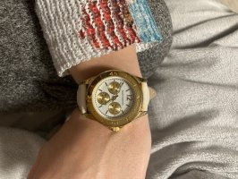 Mark Maddox Horloge met lederen riempje goud-wit