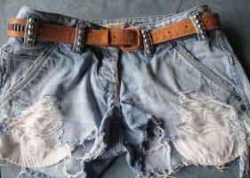 Marke Vero Moda Jeans Hotpants Shorts kurze Hose Blogger blau hell DIY cut and destroyed W 29 Größe 38 40 Nieten