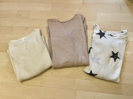 Marken Bekleidungspaket 3 Pullover H&M Gioia XS/S rosa Sterne creme weiß Ripp Strick