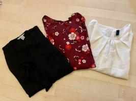 Marken Bekleidungspaket Gina Tricot Vero Moda H&M 3 Blusen Shirts S/36 weiß schwarz Blumen rot Schleife