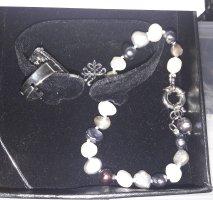 Markenarmband Edelsteine grau Silber + Ring Set