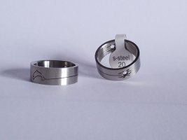 Markenlos, Stahlringe 2 Stück Motiv Delphin/Spinne Gr. 20 D:2cm